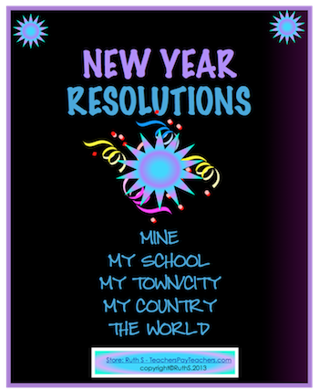 photo of New Year's Resolutions Mine My Town/City My Country the World TeachersPayTeachers.com, New Years, ELA, Writing Ruth S.