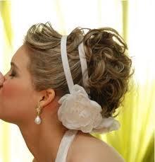 cabelo preso, fita cetim flores, casamento, noiva