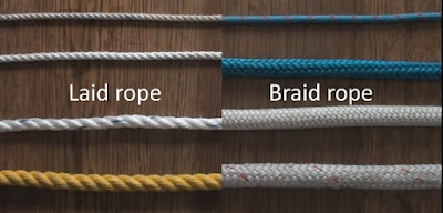 demonstation of the difference between laid and braid rope