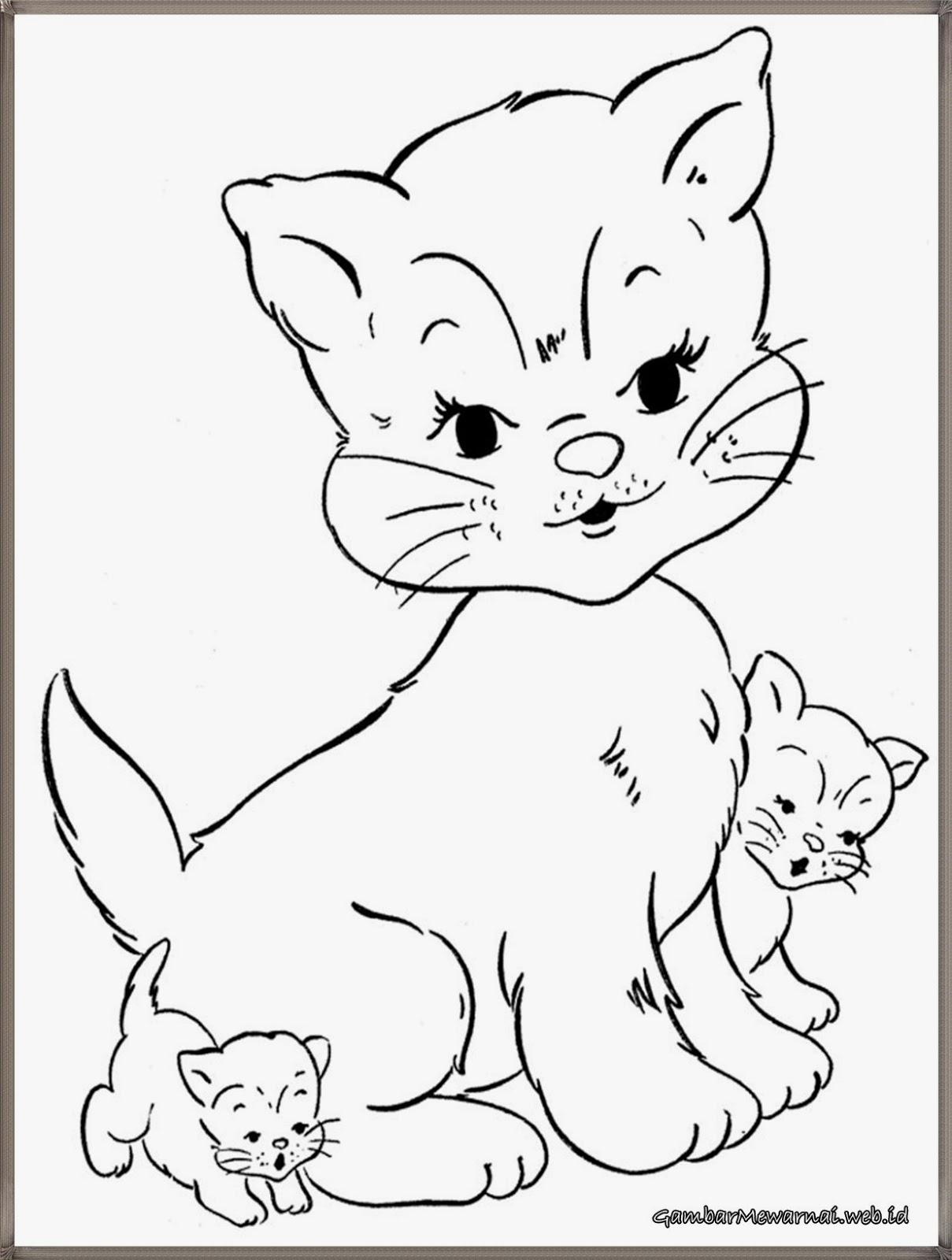 Sketsa Hewan Kucing gambar mewarnai