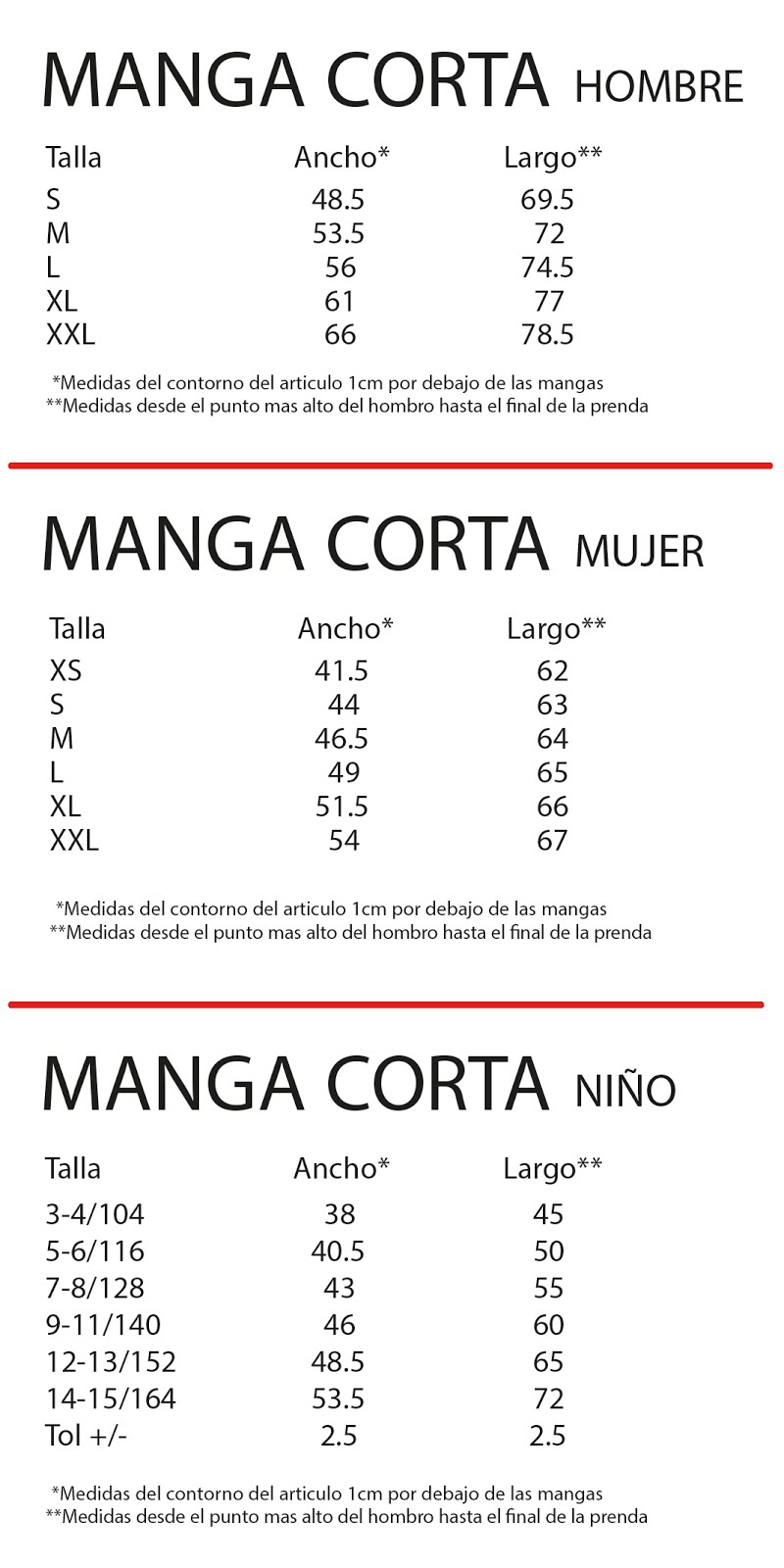 Tabla de tallas de camisetas de adulto