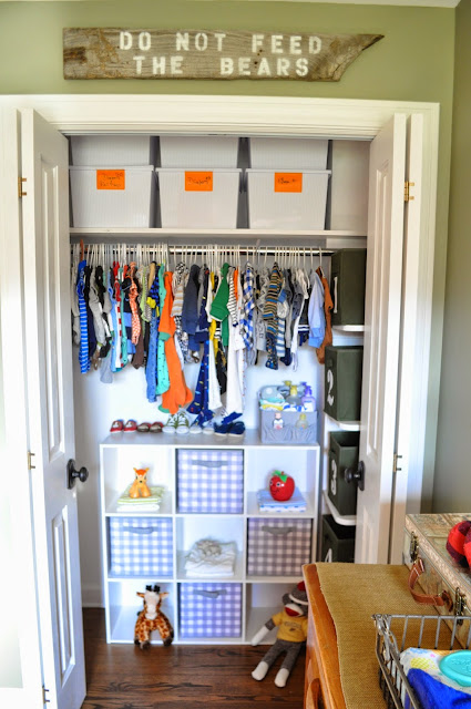 Outdoorsy, camping, boy scout nursery. Closet Storage