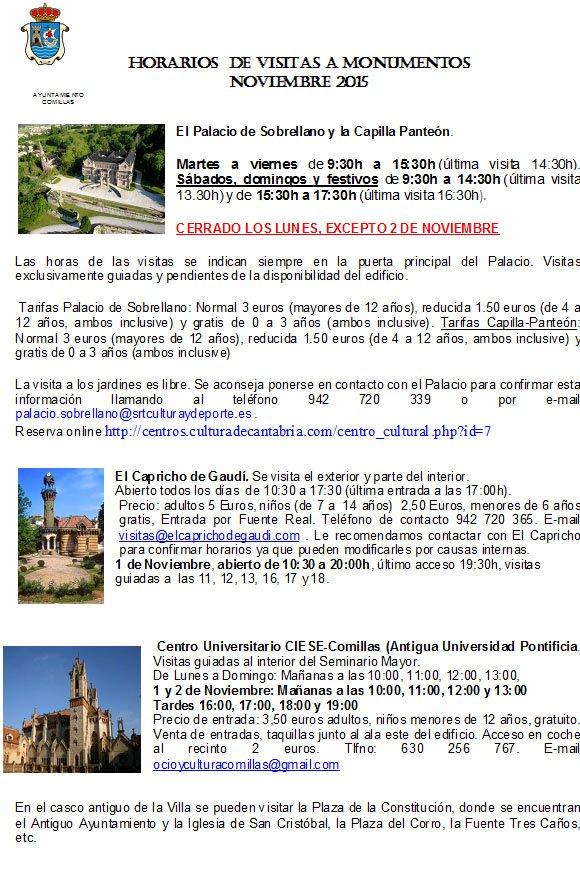 Horarios de visitas a monumentos en comillas en noviembre for Horario de trenes feve