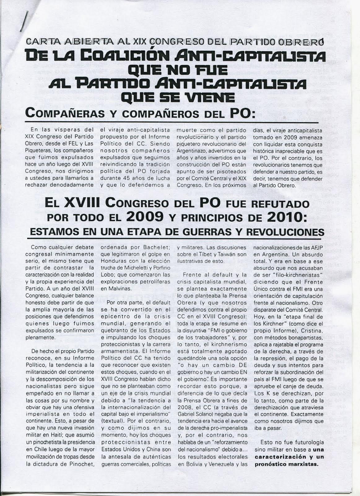 Carta abierta al XIX Congreso del PO