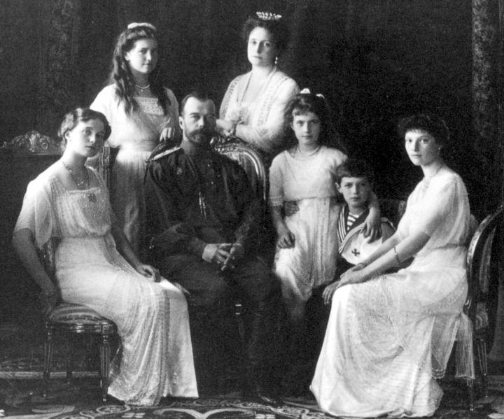 The last of the Romanovs: (Front) Olga, Tsar Nicholas II, Anastasia, Alexei, ...