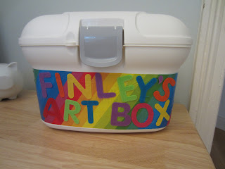 baby bath box decorated to take chold's art supplies