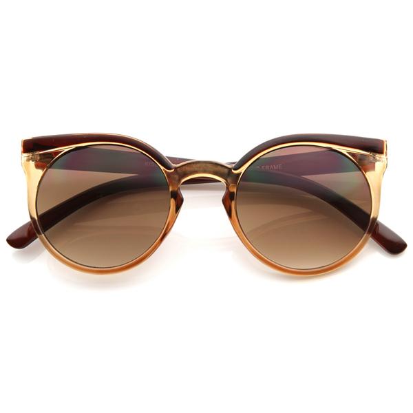 Retro Fashion Round Circle Horned Rim Cateye Sunglasses w/ Keyhole Bridge