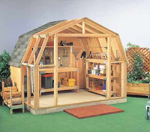 Gambrel roof sheds plans how to build gambrel roof sheds for Gambrel shed