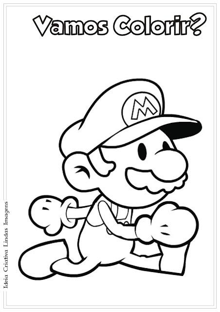 Desenho Super Mario fofo para colorir