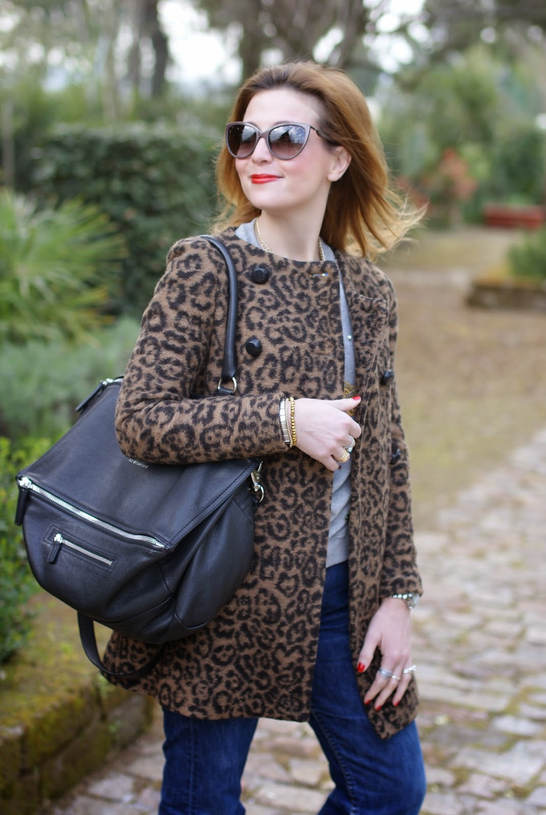 Moschino cat eye sunglasses, leopard coat, Ruco Line sneakers, Givenchy Pandora, Fashion and Cookies, fashion blogger