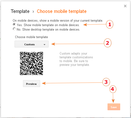(screenshot) Mobile Template options for Blogger (Blogspot)