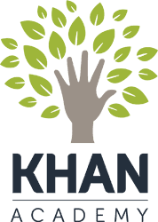 A hand with leaves around it and the words Khan Academy