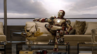 iron man sitting on a couch
