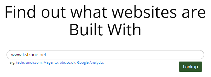 BuildWith kiểm tra dịch vụ của một website