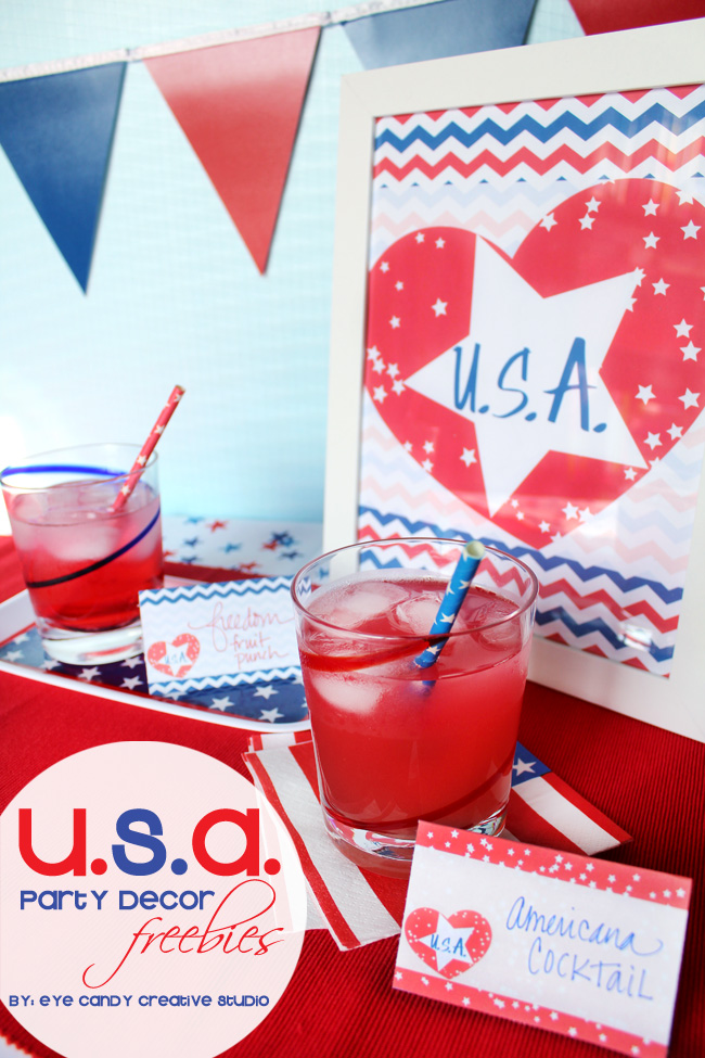 USA party, freebies, party decor, red white & blue, patriotic, american