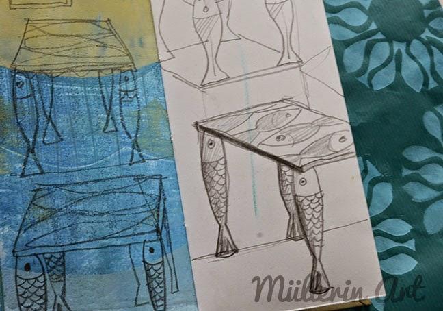 Fischtisch Skizze Müllerin Art