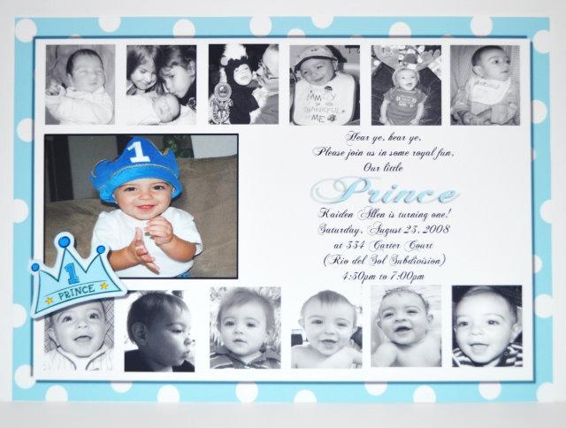 Boys Birthday Invitations 1st Birthday Prince Invitation