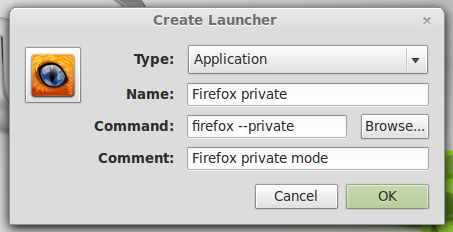 create launcher in Linux Mint 13 Cinnamon