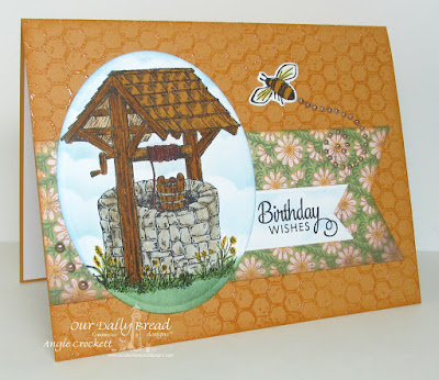 ODBD Wishing Well, ODBD Honeycomb Background, ODBD Butterfly and Bugs, ODBD Custom Butterfly and Bugs Dies, ODBD Custom Pennants Dies, ODBD Custom Ovals Dies, ODBD Blooming Garden Paper Collection, Card Designer Angie Crockett