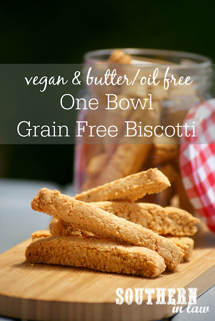 One Bowl Grain Free Biscotti Recipe - vegan, gluten free, grain free, paleo, sugar free, low fat, egg free, dairy free