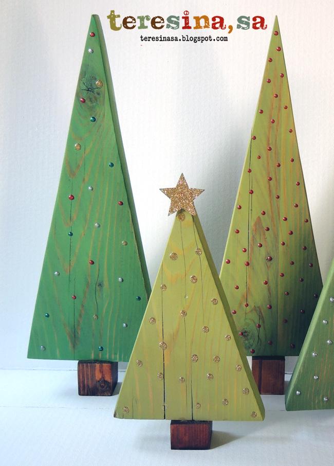 Tutorial arboles de navidad en madera teresina s a manualidades - Arboles de navidad de madera ...