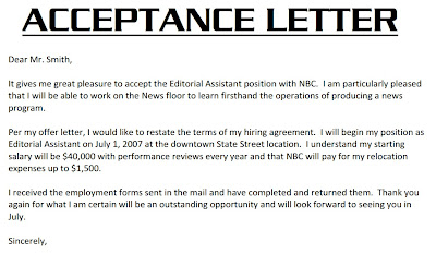 job acceptance letter acceptance letter example