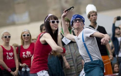 Hipster Olympics horned rim glasses toss in Germany