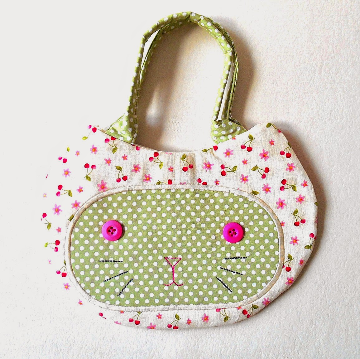 Kitty Cat Face handbag for little girls cream cherry