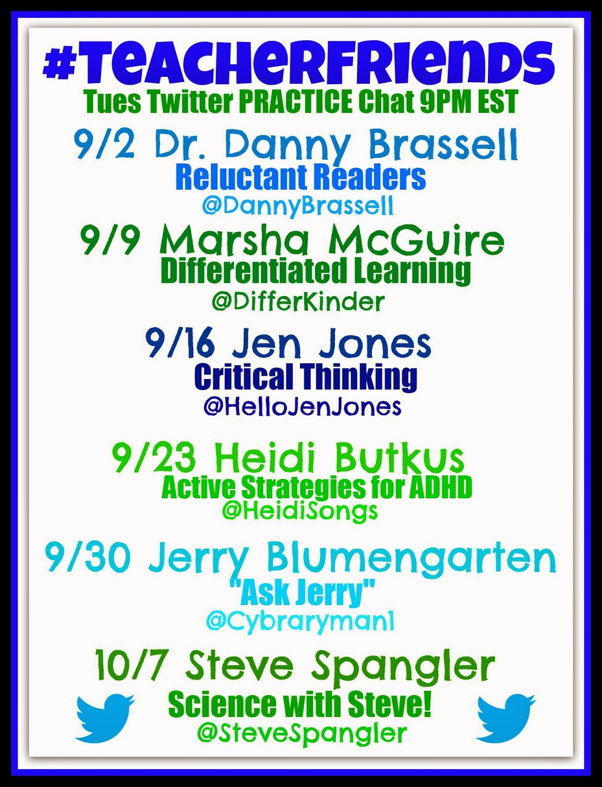 #TeacherFriends Twitter Chat PRACTICE: Guest List for September