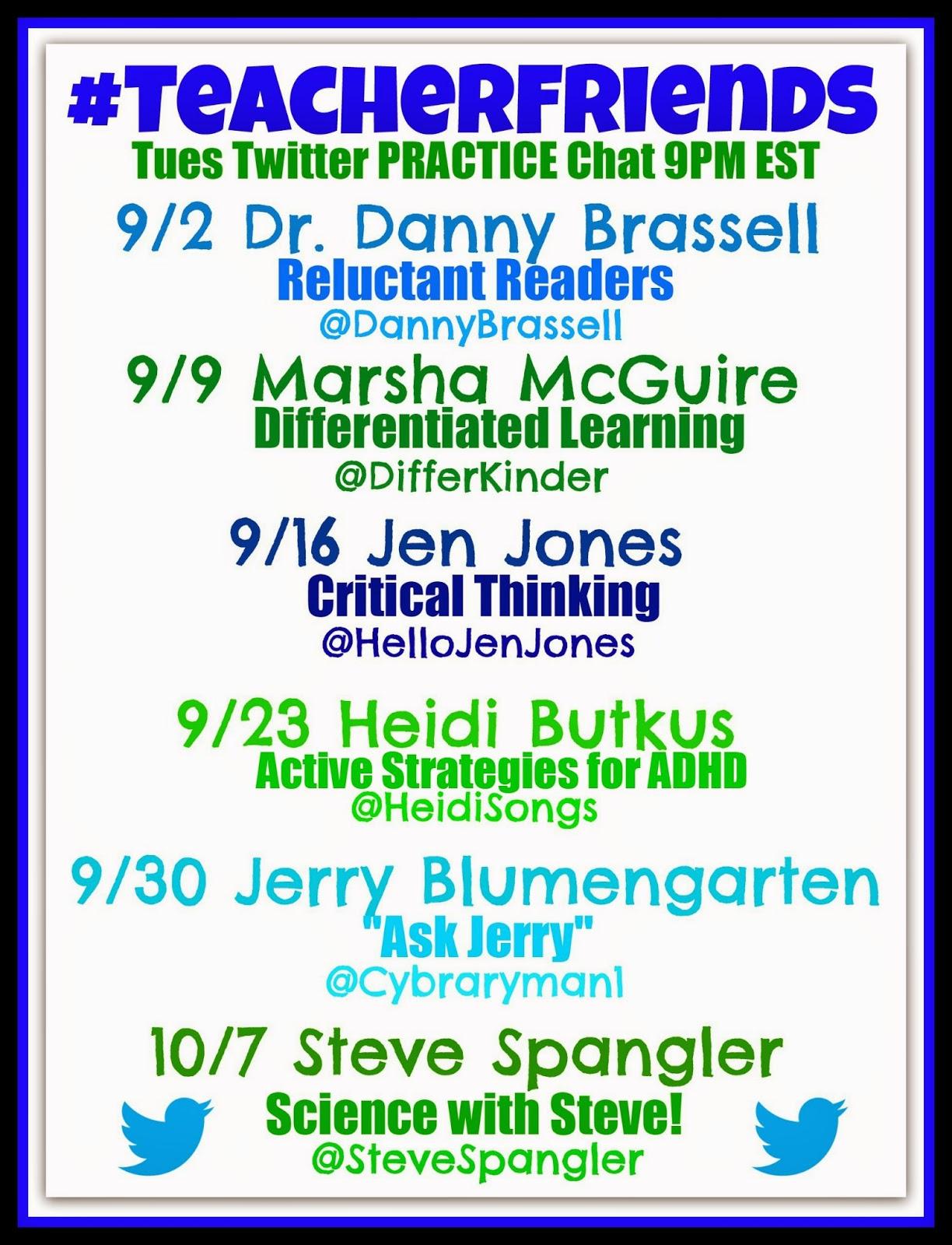 #TeacherFriends Twitter Chat PRACTICE: Guest List for September