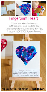 Fingerprint heart keepsake idea for valentines day or mothers day.  FREE PRINTABLE POEM. Kids craft for toddlers, preschoolers, babies, eyes .  Use a mini canvas or turn them into greeting cards.