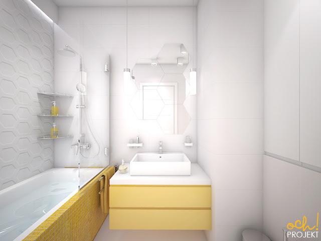 żółta nowoczesna łazienka