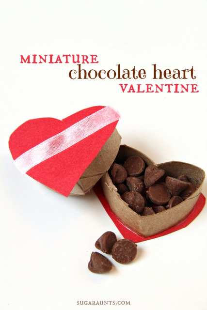 Make a miniature heart Valentine chocolate box from a cardboard tube.  This is too cute!