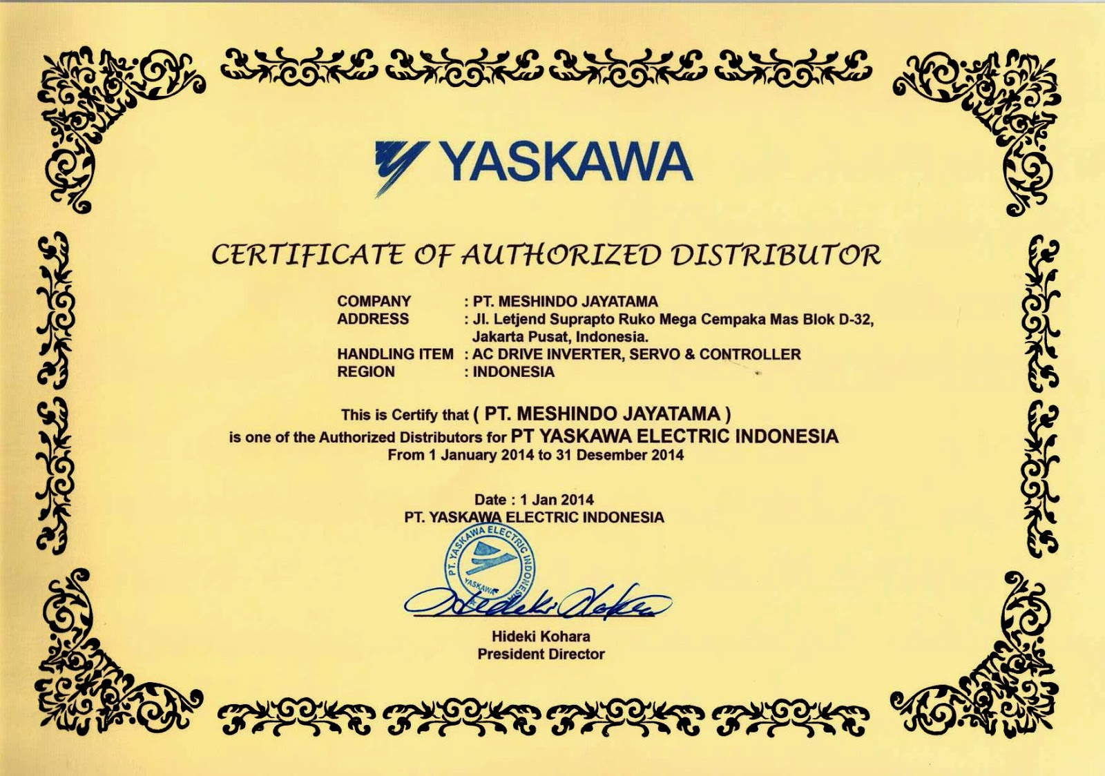 CERTIFICATE AUTHORIZED DISTRIBUTOR OF YASKAWA 2013-2014