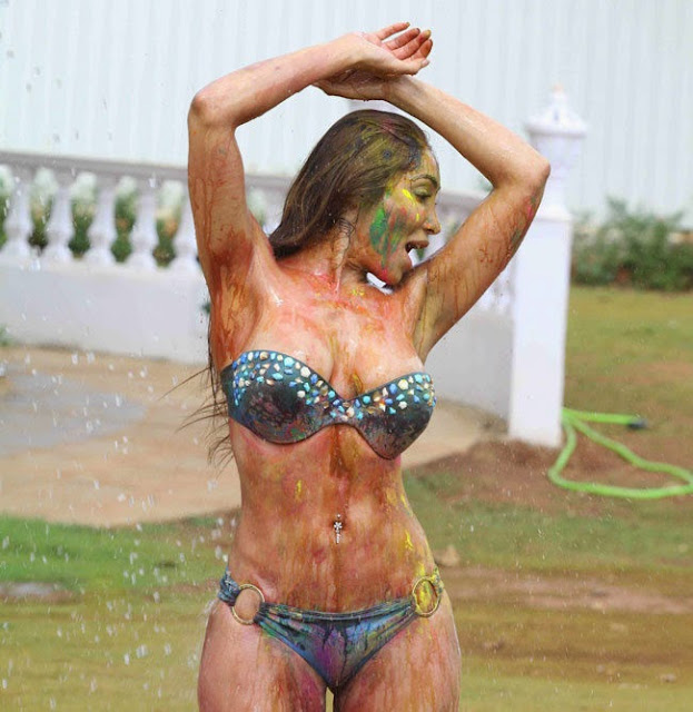 Sofia Hayat Holi 2015 Pictureshoot in Bikini Pictures 12.jpg