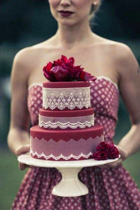 burgundy and white wedding cake