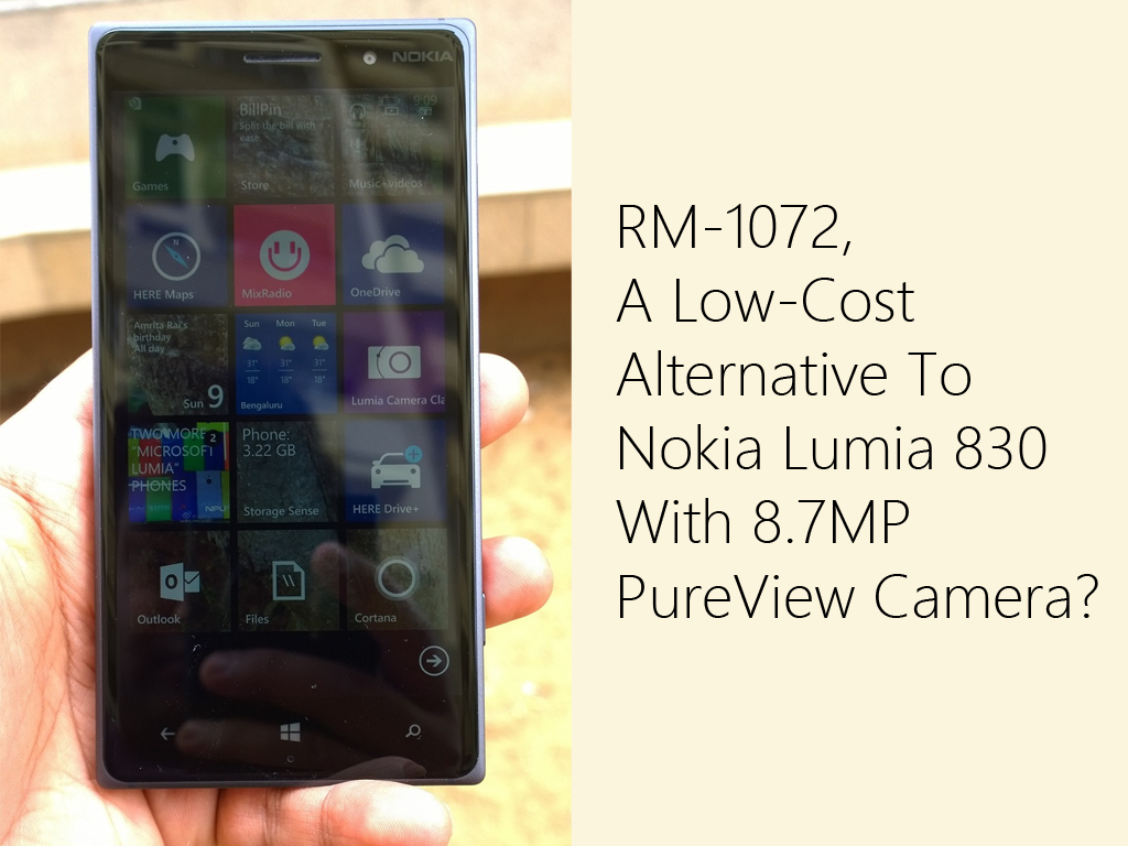 RM-1072, A Low-Cost Alternative To Nokia Lumia 830 With 8.7MP PureView Camera?