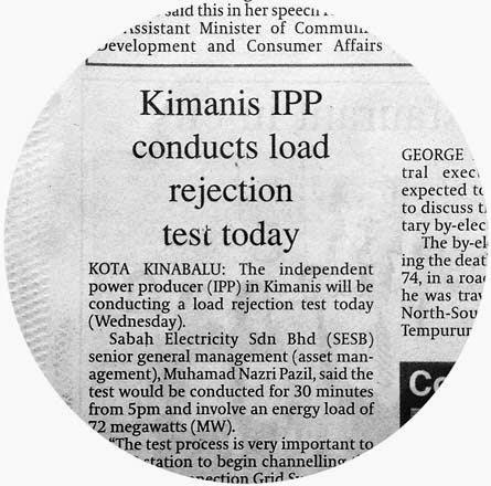 SESB to conduct load rejection test on Kimanis IPP today