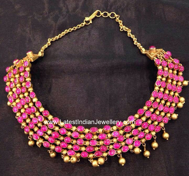 Multi Line Ruby Gold Necklace