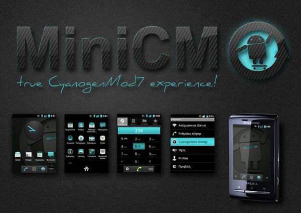 Cara Install ROM MiniCM7-2.2.2 Gingerbread 2.3.7 Xperia X10 Mini Pro