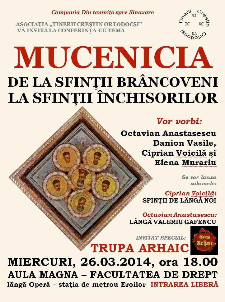 MIERCURI, 26. 03. 2014. AULA MAGNA A FACULTĂȚII DE LA DREPT. ORA 18.00