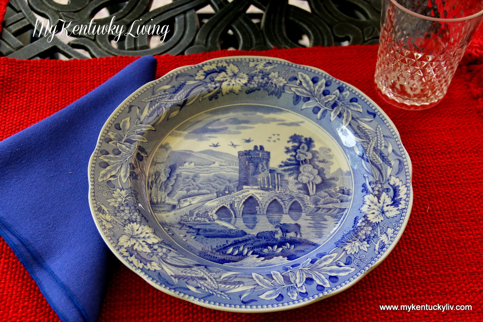 Normally for outside use I would use a melamine plate or a toss away plate but this time I thought I would go with a china plate. & A Red White and Blue Table Setting - My Kentucky Living