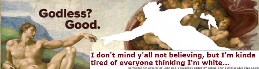 Portion of Michelangelo's painting with some text by Edmonton Atheist Society bus ad, with response by God(added by rob g
