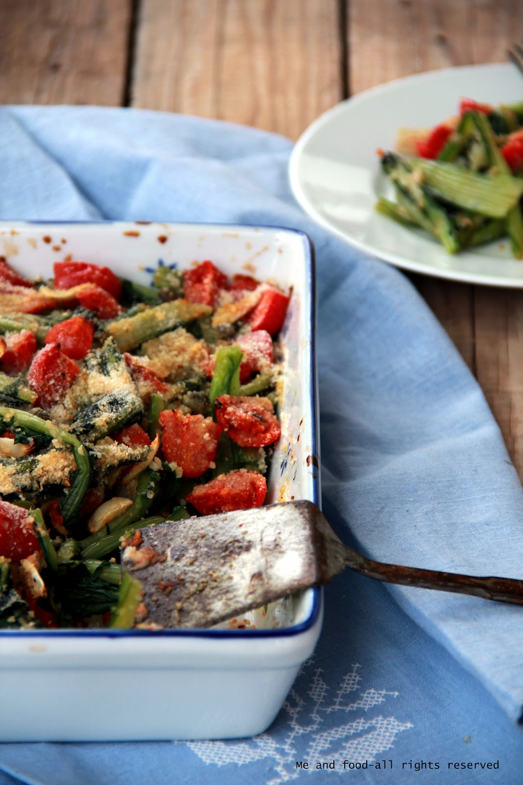 Me and food catalogna gratinata con pomodorini for Cucinare sinonimo