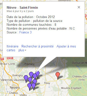 Carte de la pollution de l'eau potable dans la Nièvre
