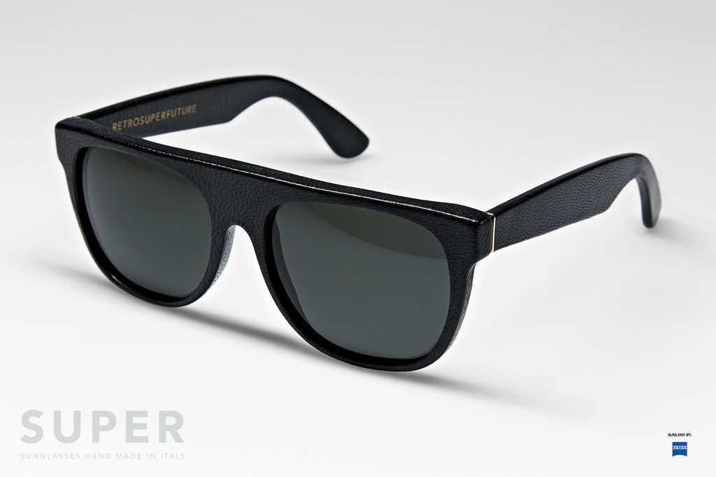 Super Flat Top Sunglasses Black Leather Flat Top Leather Black