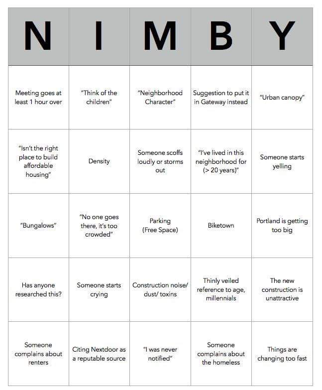 """NIMBY BINGO!"" Click sheet, learn how:"