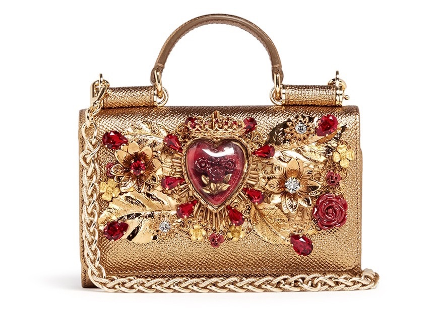 Dolce & Gabbana ornate heart appliqué leather crossbody phone bag, lanecrawford.com
