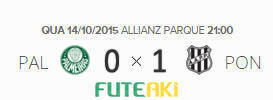 O placar de Palmeiras 0x1 Ponte Preta pela 30ª rodada do Brasileirão 2015