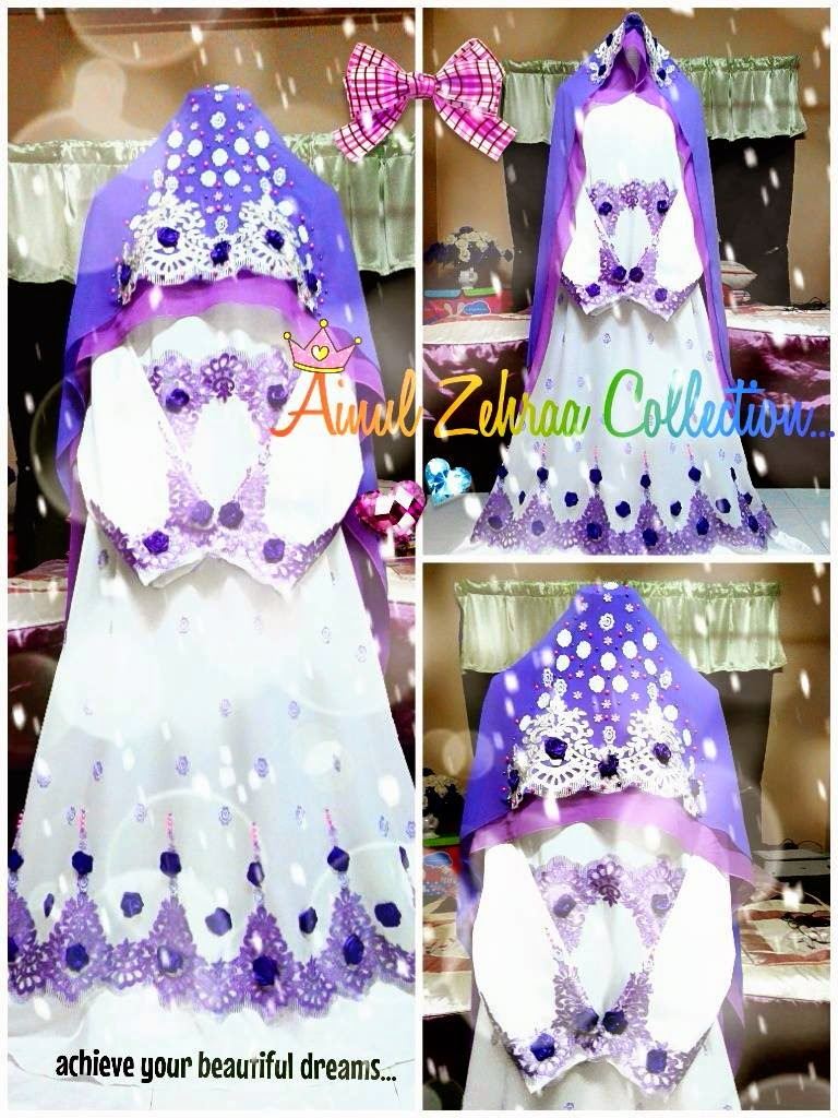 Dress Pengantin Muslimah Purple Putih